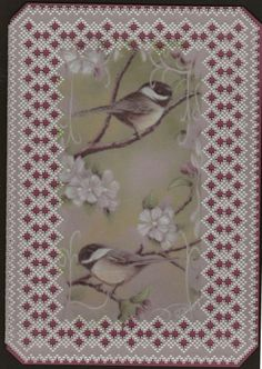 Little chickadees. Printed on Parchment and grid work done by Martha L.
