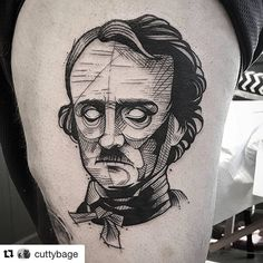 An unusual Edgar Allan Poe tattoo #literarytattoos http://writersrelief.com/