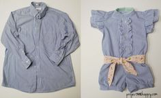 Mens' Dress Shirt to Girls' Romper
