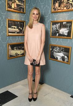 Lauren Santo Domingo Leather Dress - Lauren Santo Domingo went for an adorable '60s look with this pale-pink leather shift dress by Miu Miu during the brand's Cruise Collection show.