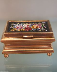 Antique Micro Mosaic and gilded metal box by R. Romanelli Florence, 19th century #RRomanelliFlorence