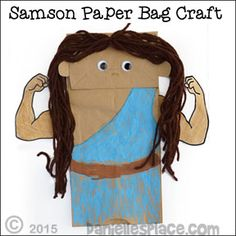 Samson Paper Bag Puppet for Children's Ministry from www.daniellesplace.com