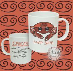Zodiac Mug Cancer Star Sign Ceramic 12oz by EllieIllustratesShop