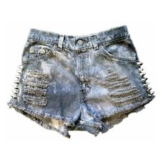 Gray and black spike studded cutoff shorts ❤ liked on Polyvore featuring shorts, bottoms, short, pants, short shorts, high waist cutoff shorts, cut off shorts, vintage shorts and high-waisted shorts