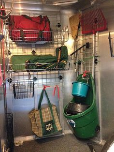 The Organized Barn and Trailer - storage and organizing storage systems for barn, horse trailer dressing room, and tack room. Horse Trailer Organization, Tack Room Organization, Trailer Storage, Trailer Diy, Barn Storage, Trailer Remodel, Travel Organization, Horse Camp, Horse Gear