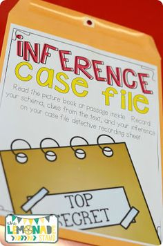 Making Inferences Case File: students work in cooperative groups to make inferences over the book or passage inside. Rotate the case file each day throughout the unit for students to gain exposure to different texts. Reading Lessons, Reading Skills, Teaching Reading, Guided Reading, Inference Activities, Reading Activities, Third Grade Reading, Second Grade, 4th Grade Classroom