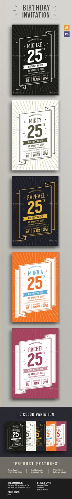 Green   Gold Birthday Invitation Gold birthday and Font logo - birthday invitation card template photoshop