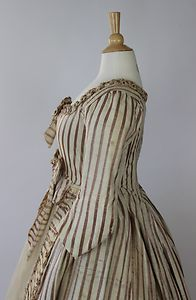 Striped 18th Century Robe in Silk and Cotton with Self Fabric Ruching and Bows   eBay