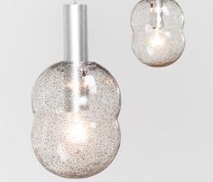 Tobia Scarpa pair of Bilobo pendant lamps Pulegoso glass Flos - furniture-love.com