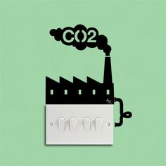 Fancy - Wall sticker CO2 Factory Reminder