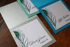Peacock Place or Escort Cards with Crystal