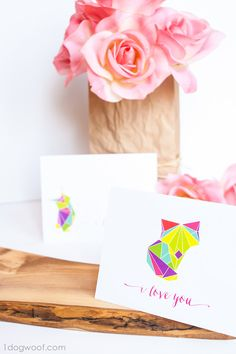 Colorful Printable Origami Animal Cards: give a unique card to say I Love You! These printable cards would make excellent Valentines.