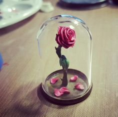 Miniature Polymer Clay Enchanted Rose from Beauty and the Beast in a Glass Dome
