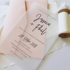 simple transparent translucent DIY wedding invitation for beach wedding - Modern Beach Wedding Invitations, Diy Invitations, Wedding Invitation Wording, Wedding Stationary, Wedding Programs, Invitation Cards, Wedding Cards, Wedding Favors, Wedding Events