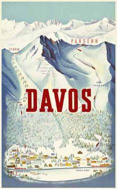 Davos Parsenn Strela Switzerland 1932   Mad Men Art   Vintage Ad Art Collection