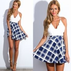 Stylish Ladies Women Lace V Collar Backless Plaid ...