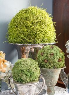 Moss Balls and Topiaries (Size Does Matter!) | Diy moss topiary and faux moss sphere | Diy dome topiary | Diy accent decor | Step-by-step tutorial on how to make a topiary out of faux greens, simple and pretty! | Upcycled spring decoration | Cheap & easy crafts | #upcycled #diy #Spring #crafts | TheNavagePatch.com