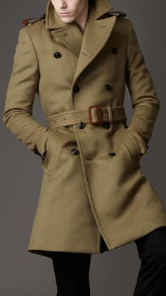 Burberry London men's structured wool officers coat.