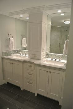 Remodel double sink Double Vanity Storage Tower Love The Doors On The Sides bathroom counter storage. Double Vanity Storage Tower Love The Doors On The Sides bathroom counter storage tower Bad Inspiration, Bathroom Inspiration, Bathroom Ideas, Bathroom Sinks, Bathroom Lighting, Bathroom Double Vanity, Bathroom Tower, Budget Bathroom, Restroom Ideas