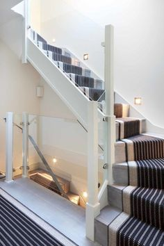 Stylish London mews house re-imagined for loft living, love the runner on the stairs Loft Staircase, Attic Stairs, House Stairs, Carpet Stairs, Staircase Design, Staircase Ideas, Handrail Ideas, Staircases, White Staircase