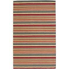 @Overstock - Hand-tufted in India, this New Zealand wool rug features a Mandara stripe design in shades of red, grey, gold, grey and beige. A plush pile height completes the look and feel of this area rug.http://www.overstock.com/Home-Garden/Hand-tufted-Mandara-New-Zealand-Wool-Rug-5-x-7/5728726/product.html?CID=214117 $152.99