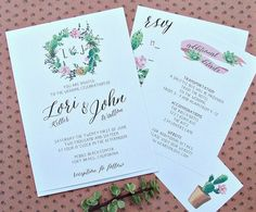 Succulent wedding invitation - see details at http://themerrybride.org/2014/11/08/wedding-invitations-on-etsy-com/