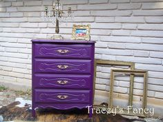 Vintage French Provincial Painted Chest of Drawers - MADE TO ORDER. $500.00, via Etsy. Purple Chest Of Drawers, Teal Chests, Purple Dresser, Green Chests, Gypsy Decor, Boho Decor, Bohemian Gypsy, Bohemian Style, Painted Chest