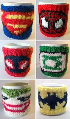 Knitting Patterns for Super Hero Mug Cozies -Mug cozies inspired by a variety of comic book heroes and villains including Deadpool, Spiderman, Batman, Batgirl, Wonder Woman, Superman, Green Lantern, Joker, Captain America, and more. Designed by COSiePLAY