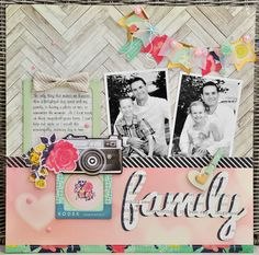 #papercraft #scrapbook #layout - Family by Sheri R at @Studio_Calico Such a pretty layout! Love the combination of wood with the pops of lovely color!