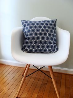 Navy Pillow Eames side chair