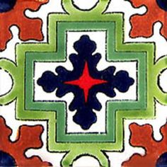 """Mexican tiles in """"Cuernavaca"""" style. Old world with terra cotta, dark blue and green talavera tile design over white background. Shipping from Mexico to the US and Canada is estimated for four weeks. Tile Design, Design Art, Art Designs, Pattern Design, Design Ideas, Mexican Ceramics, Mexican Designs, Diy Interior, Interior Design"""