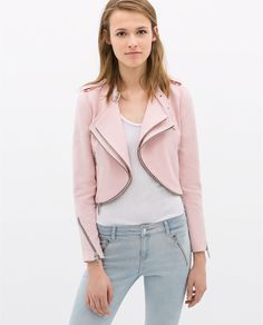 Image 2 of CROPPED JACKET WITH ZIPS from Zara