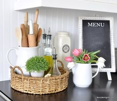 Simple Spring Decor The great move of 2016 almost did me under! We had our Fancy Farmgirls shed that was just too easy to enable our hoarding tendencies. It was the move that never seemed to end! It was rather overwhelmingRead Kitchen Countertop Decor, Home Decor Kitchen, Spring Kitchen Decor, Kitchen Staging, Kitchen Tray, Kitchen Display, Kitchen Decorations, Kitchen Remodeling, Diy Kitchen