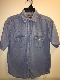 Vintage Outlaw Shirt Western Jean Denim Pearl Snap Mens Size L Short Sleeve | Clothing, Shoes & Accessories, Men's Clothing, Casual Shirts | eBay!