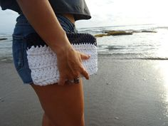 Handmade crochet clutch bag created by young women empowering women in South Africa. Crochet Clutch Bags, African American Fashion, Blazer Fashion, Women Empowerment, Young Women, South Africa, Lace Shorts, Night Out, Navy