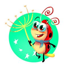 Kórica, the ladybug with five dots, illustrated by László Borsi Book Illustration, Illustrations, Bugs And Insects, Tweety, Ladybug, Childrens Books, Dots, Author, Marvel