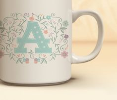 Monogrammed Coffee Mug | ON SALE NOW! Quick Ship! |  Floral Monogram Coffee Mug | Mug Available in 11 oz. & 15 oz. sizes | Gift for Her