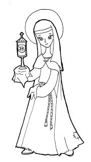 Saint Clare of Assisi Catholic coloring page. Feast day is August Patron Saint of needle workers. San Francisco Solano, San Francisco Javier, Saints For Kids, All Saints Day, Catholic Crafts, Catholic Kids, Church Crafts, First Grade Projects, Clare Of Assisi