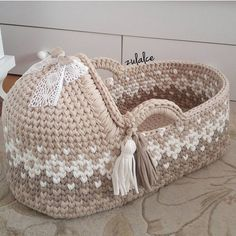 Exclusive Hand Made Knitted Baby Cradle Baby Basket/Cot/Cribs/Nest/Bassinet/Organic Newborn Crochet/Knitted Basket, Sleeping Bed/Stroller Crochet Diy, Crochet Home, Crochet For Kids, Crochet Dolls, Crochet Crafts, Diy Crafts, Crochet Baby Clothes, Newborn Crochet, Crochet Basket Pattern