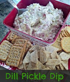Dill Pickle Dip--super easy and delicious - a take off of the ham or beef, cream cheese and pickle pinwheels but in a dip form!