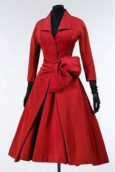 """DIOR - Escarlate"""" 1955 -- """"…designed clothes for flower-like women, clothes with rounded shoulders, full feminine busts, and willowy waists above enormous spreading skirts…"""""""