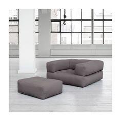 Gris 100/% Coton Fold Out Z lit Cube appoint Invité Matelas Futon Chairbed