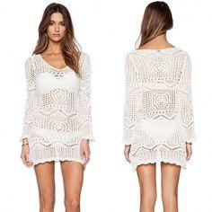 New Fashion Women Sexy O-neck Long Sleeve Crochet Hollow Out Beachwear Bikini Cover Up Dress