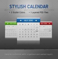 Web 2.0 Calendar for your personal or company website in 3 stylish colors!  1PSDfile is included: Calendar.psd  The font used is B