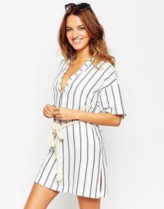 ASOS – Gestreiftes Strand-Hemdkleid mit Gürtel im Seildesign