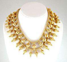 Exotic Vintage Multi Strand Necklace Costume Statement Jewelry Beaded Fringe Collar Ornate Necklace