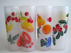 Vintage Federal Iced Tea Glasses Set of 8 Fruit by cityfleas, $45.00