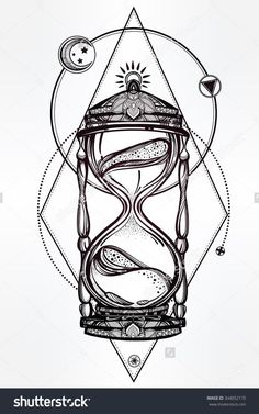 Hand drawn romantic beautiful drawing of a hourglass. Vector illustration isolated. Tattoo design, mystic time symbol for your use.:
