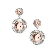 Come find the right jewelry for your #wedding dress or bridesmaids #bridal #fashionjewelry Silver Crystal Rhinestone Round Shaped Light Peach Dangle Earrings