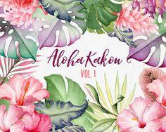 Fleurs aquarelle clipart Hawaï fleurs tropicales Hibiscus